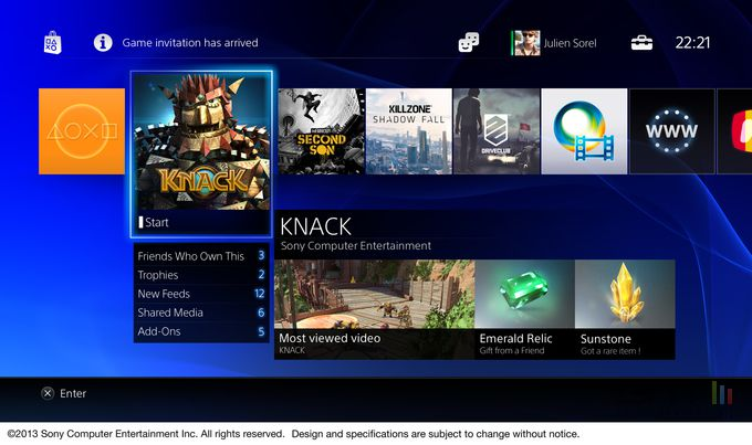 PS4 - interface 1